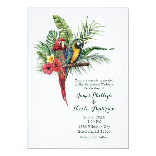 Island Paradise Birds Tropical Floral Wedding Invitation