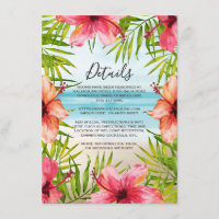 Island Paradise Tropical Floral Wedding Details Enclosure Card