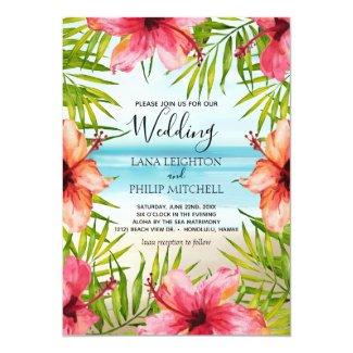 Island Paradise Tropical Palms and Flowers Wedding Invitation