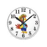 Island Parrot Round Clock