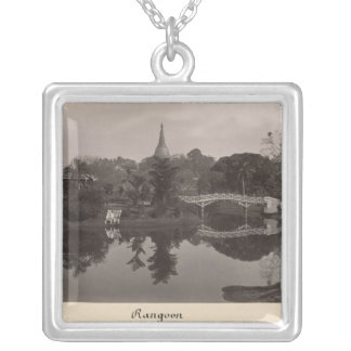 Island pavilion in the Cantanement Garden Silver Plated Necklace