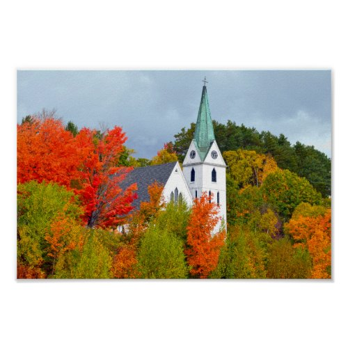 Island Pond, Vermont, Church, Autumn Poster