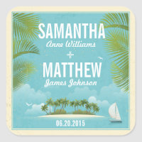 Island Resort Beach Destination Wedding Gift Label