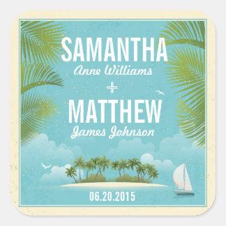 Island Resort Beach Destination Wedding Gift Label Square Sticker