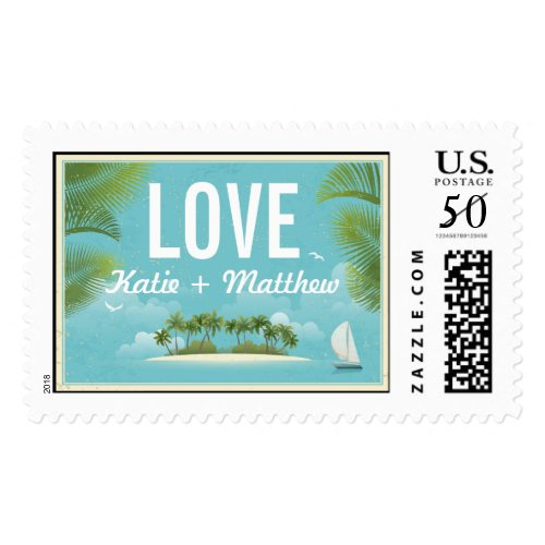 Island Resort Beach Destination Wedding Postage