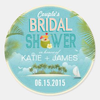 Island Resort Destination Bridal Shower Label Classic Round Sticker