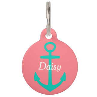 Island Sea Anchor on Coral Pink Personalized Pet ID Tag