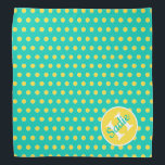 """Island Sea and Banana Yellow Polka Dot Monogram Bandana<br><div class=""""desc"""">Cute polka dots in bright Banana Yellow on a background of tropical Island Sea turquoise..  Personalize the matching monogram with your choice of name and initial.</div>"""