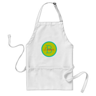 Island Sea Lime Green and Tropical Flower Monogram Adult Apron