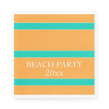 Island Sea Stripes on Tropic Orange Personalized Napkin