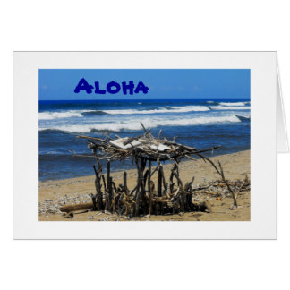 Island Stick Hut on Beach, Lanai, Hawaii, Hello Card