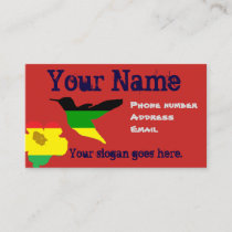 Island style business card, hummingbird and flower business card