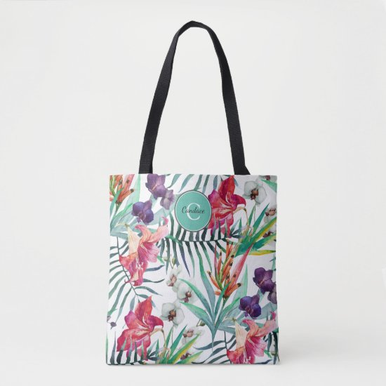 Island Style Tropical Floral Pattern and Monogram Tote Bag