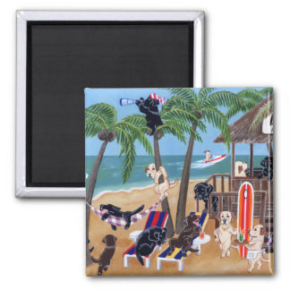 Island Summer Vacation Labradors 2 Inch Square Magnet