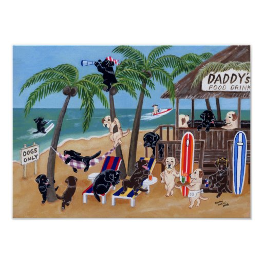 Island Summer Vacation Labradors Artwork Poster