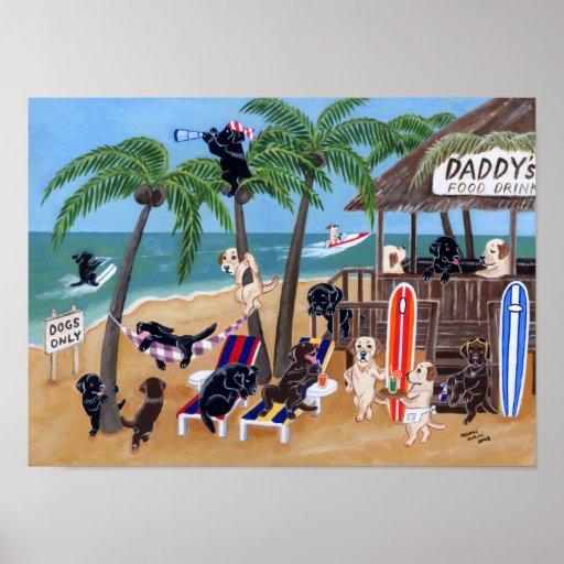 Island Summer Vacation Labradors Artwork Poster