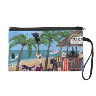 Island Summer Vacation Labradors Wristlet Clutches