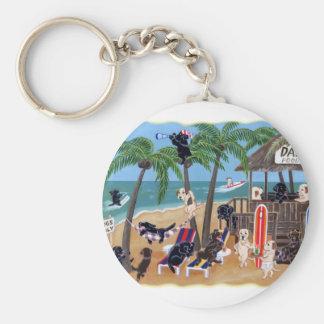 Island Summer Vacation Labradors Basic Round Button Keychain