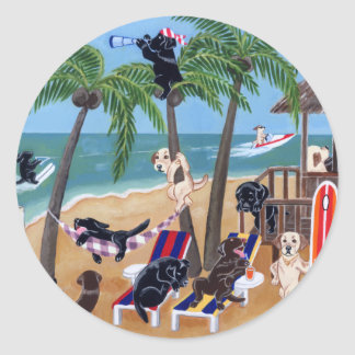 Island Summer Vacation Labradors Classic Round Sticker