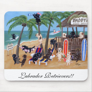 Island Summer Vacation Labradors Mouse Pad