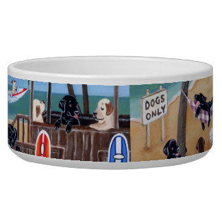 Island Summer Vacation Labradors Painting Bowl