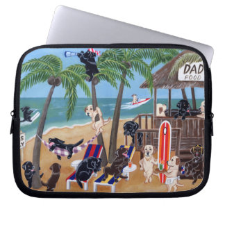 Island Summer Vacation Labradors Painting Computer Sleeve