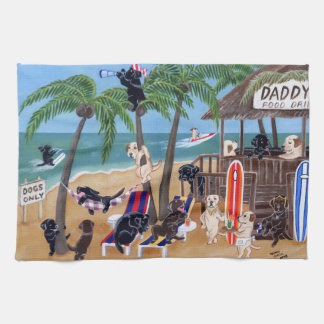Island Summer Vacation Labradors Painting Kitchen Towels