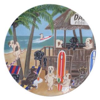 Island Summer Vacation Labradors Painting Melamine Plate