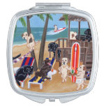 Island Summer Vacation Labradors Painting Compact Mirror