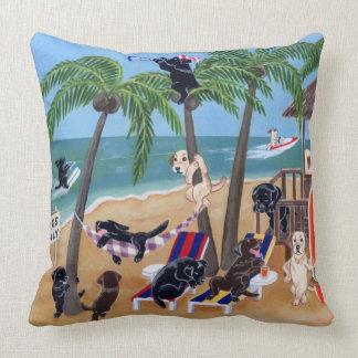 Island Summer Vacation Labradors Throw Pillow