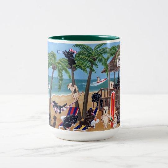 Island Summer Vacation Labradors Two-Tone Coffee Mug