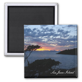 Island sunset 2 inch square magnet