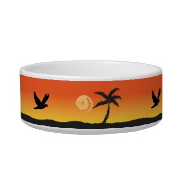 Beach Themed Island Sunset Pet Bowl