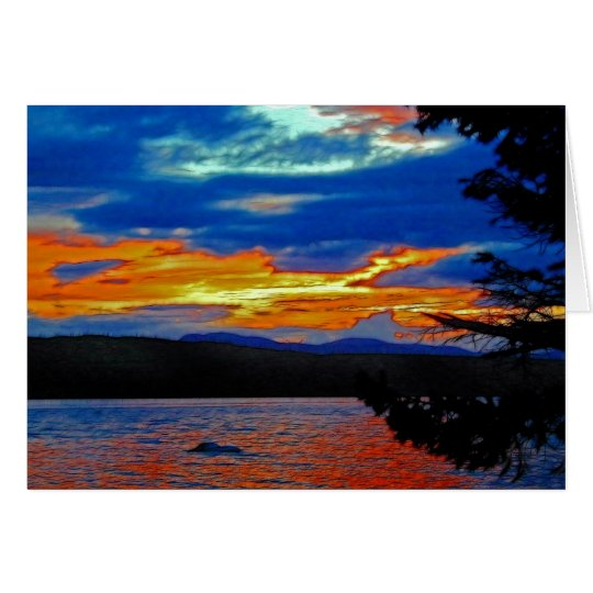 Island Sunset Scenic Nature Art Greeting-Card Card