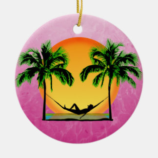 Island Time Double-Sided Ceramic Round Christmas Ornament