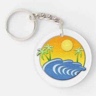 Island Time Double-Sided Round Acrylic Keychain
