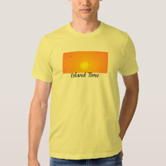 Island Time Golden Glow Beach Sunset and Seagull T-shirt