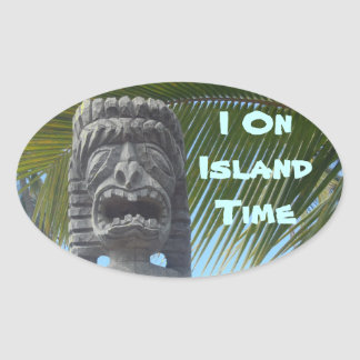 Island Time humor Hawaii tiki stickers