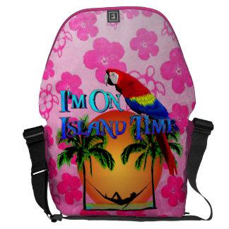 Island Time In Hammock Messenger Bags