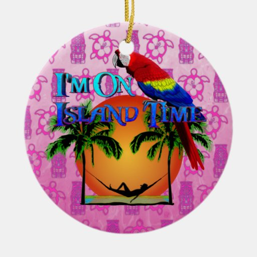 Island Time In Hammock Double-Sided Ceramic Round Christmas Ornament