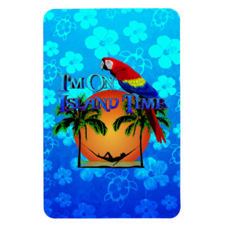 Island Time In Hammock Rectangle Magnets