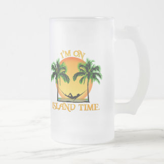 Island Time 16 Oz Frosted Glass Beer Mug