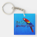 Island Time Parrot Double-Sided Square Acrylic Keychain