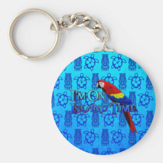 Island Time Parrot Key Chains