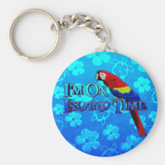 Island Time Parrot Basic Round Button Keychain