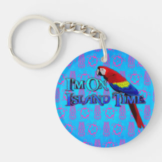 Island Time Parrot Acrylic Key Chain