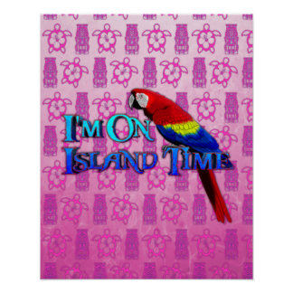 Island Time Parrot Poster