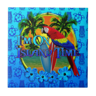 Island Time Sunset And Tikis Ceramic Tile