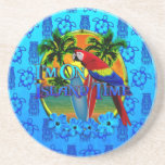 Island Time Sunset And Tikis Coaster