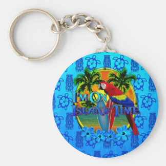 Island Time Sunset And Tikis Key Chain